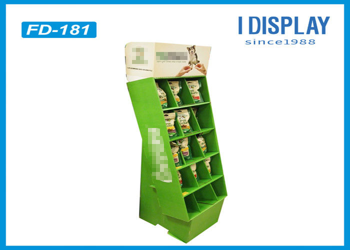 Portable Retail Cardboard Displays , Dogs Food Merchandising Displays Stands