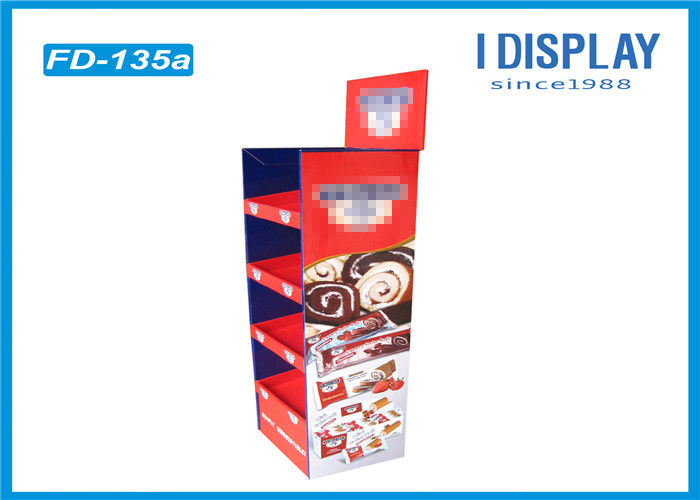 4 Tier Retail POP Cardboard Cake Stand Display With Customized Logo
