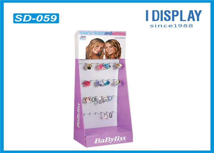 Folding Cardboard Hook Display Stands , Retail Cardboard Displays For Hair Ornaments
