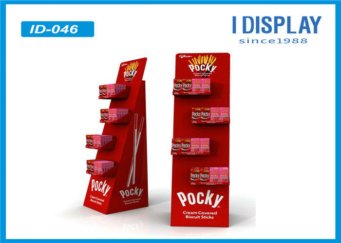 Red Food Display Stands  / Advertising Custom Cardboard Displays With Head Card